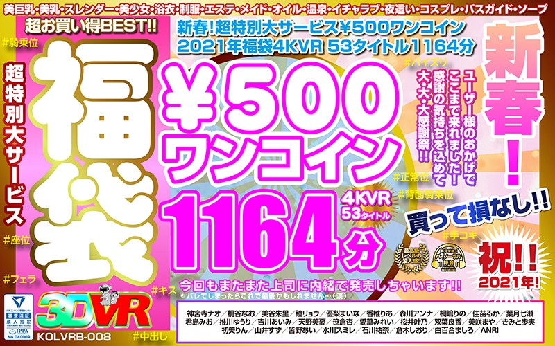 【VR】新春!超特別大サービス¥500ワンコイン福袋4KVR 53タイトル1164分 kolvrb-008
